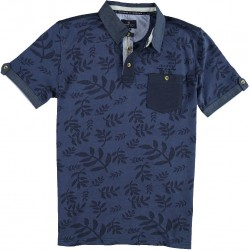 61.3606-110  Poloshirt Print Chestpocket navy