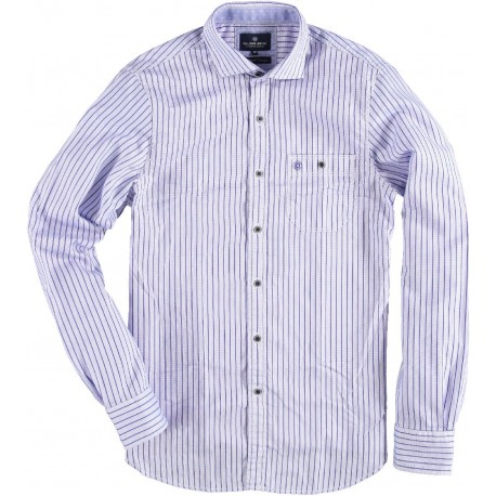 71.6532-115  Shirt L/S Vertical Stripes mid blue