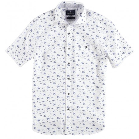71.6641-104  Shirt S/S Fantasy Leaves Print white