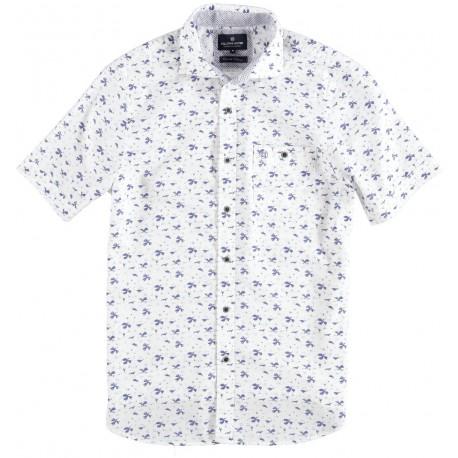 71.6641-104  Shirt S/S Fantasy Leaves Print white