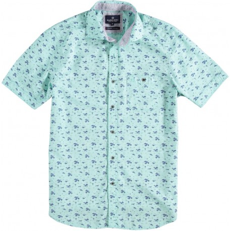 71.6641-176  Shirt S/S Fantasy Leaves Print mid green