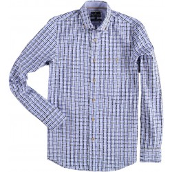72.6557-114  Shirt L/S Rectangle Design mid blue