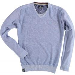 81.1103-115  Pullover V Neck - FadedSolid mid blue