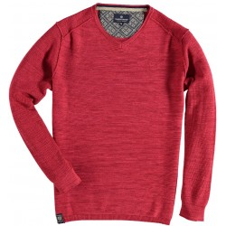81.1115-185  Pullover VNeck Solid Fancy Stitch red