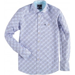 81.6532-114  Shirt L/S 3D Blocks & Circles mid blue