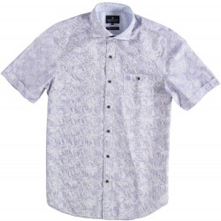 81.6609-191  Shirt S/S Checks and Flowers royal purple