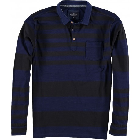 82.2102-110  Sweater Rugby Style Irregular Stripe navy