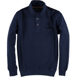 82.2604-110  Sweater 3 button Mini Stripe Design navy