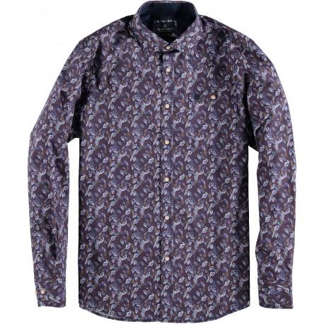 82.6556-192  Shirt L/S Coloured Leaves velver purple