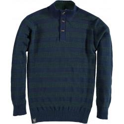 Pullover Zipper Buttons Stripes