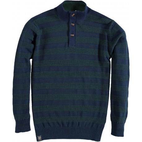 82.1117-172  Pullover Zipper Buttons Stripes dark green