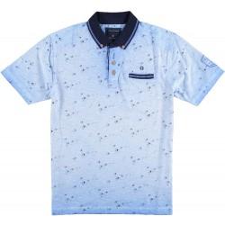 91.3621-116  Poloshirt SwallowBird Print mid blue